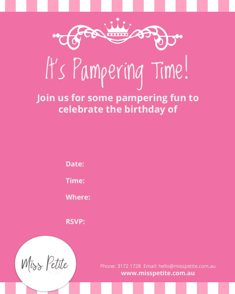 Miss Petite Pampering Invitation Template